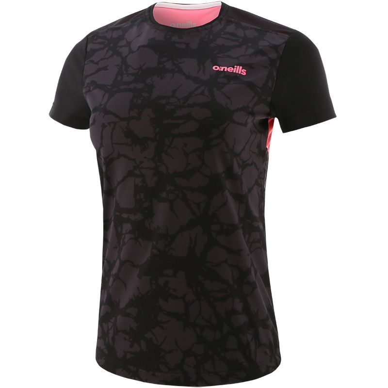 Black and pink short sleeve women's gym t-shirt with mesh panel by O'Neills.