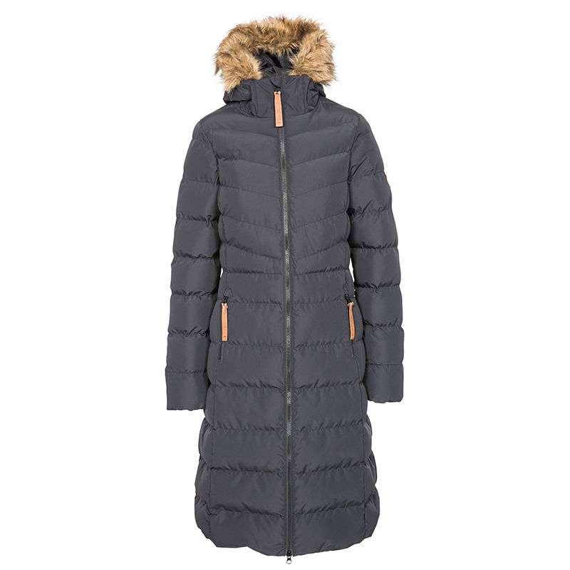 Trespass women's long puffer jacket with fur hood from O'Neills.