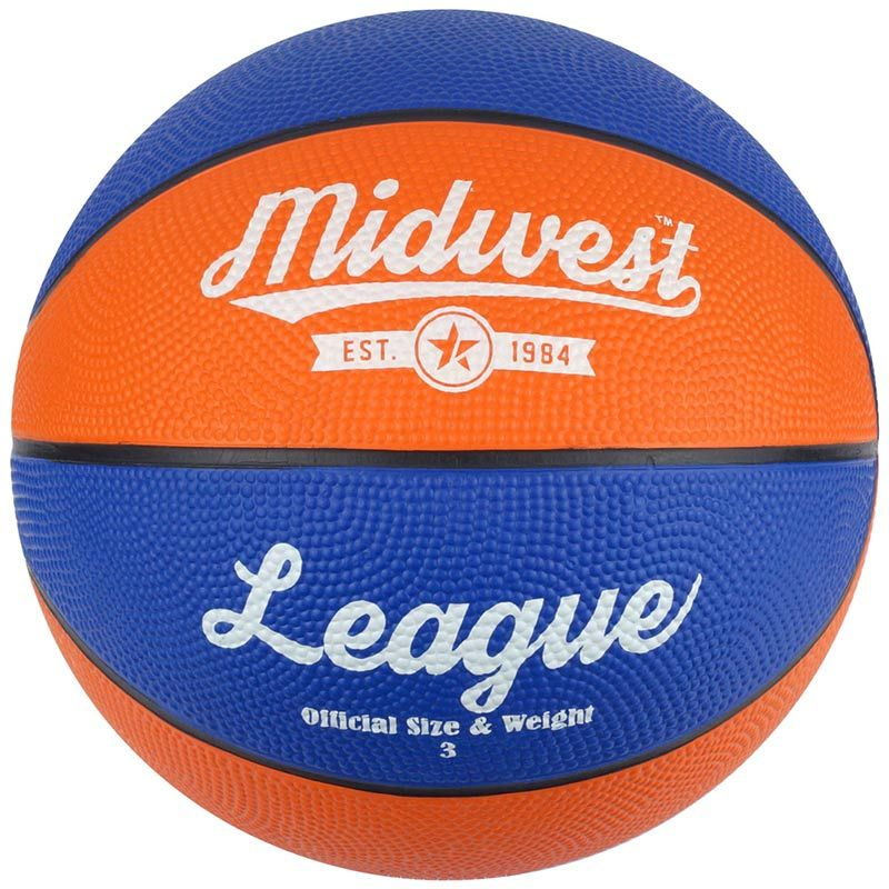 blue and orange MIDWEST performance rubber basketball with excellent durability from O'Neills