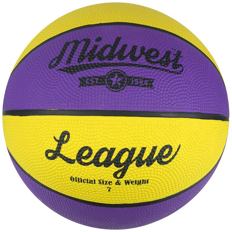 purple and yellow MIDWEST performance rubber basketball with excellent durability from O'Neills