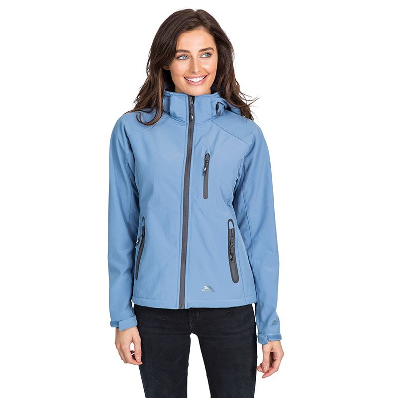 Blue Trespass women's hooded softshell jacket with grown-on hood from O'Neills.