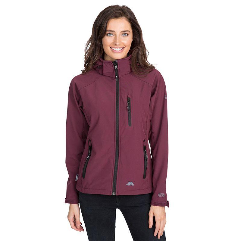 Purple Trespass women's softshell jacket with hood from O'Neills.