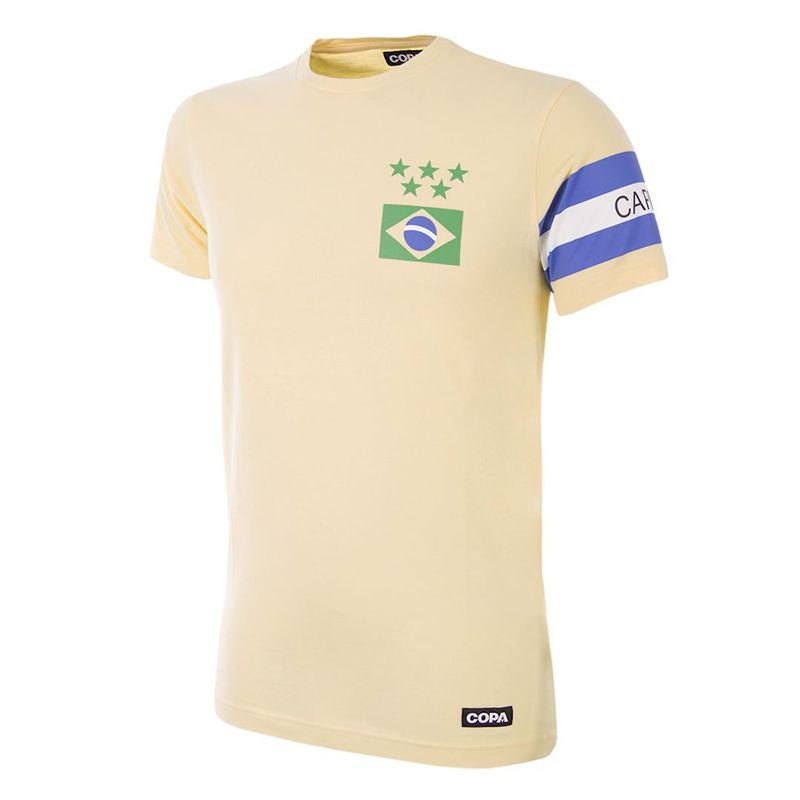 Yellow COPA retro Brazil t-shirt with printed captains armband from O'Neills.