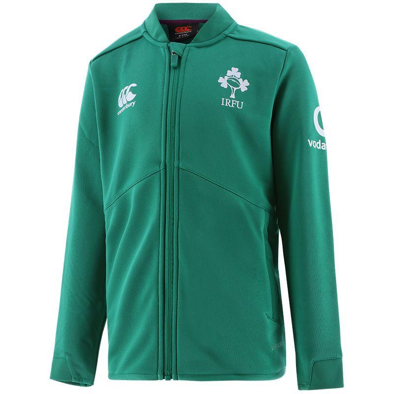 Green Kids' Canterbury Ireland Rugby track jacket with IRFU logo from O'Neills.