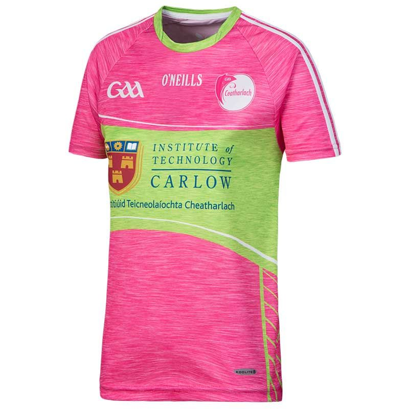 Carlow GAA Womens Fit 2-Stripe Jersey (Pink)