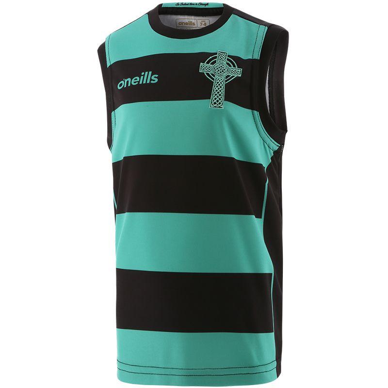 Celtic Cross Hooped Kids' Vest Black / Green
