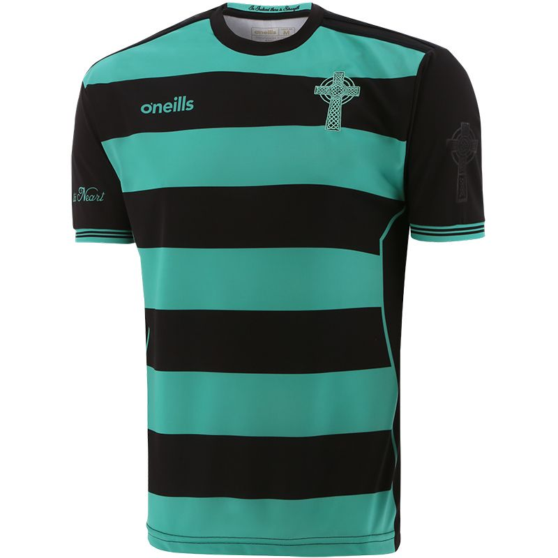 Celtic Cross Hooped Player Fit Jersey Black / Green