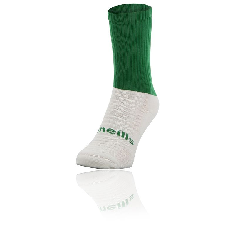 green and white Koolite Max Midi socks infused with COOLMAX ® technology from O'Neills