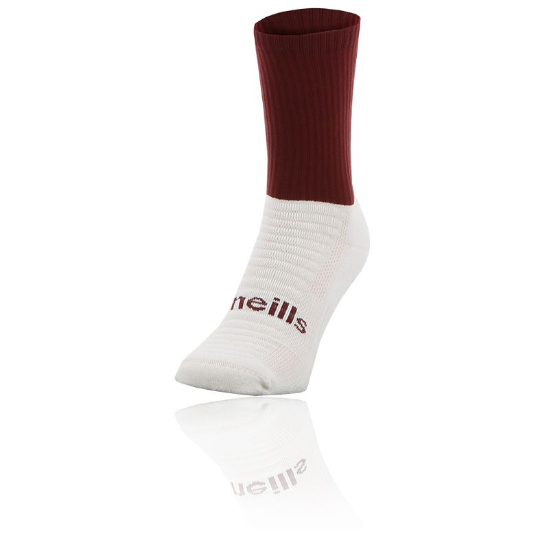 maroon and white Koolite Max Midi socks infused with COOLMAX ® technology from O'Neills