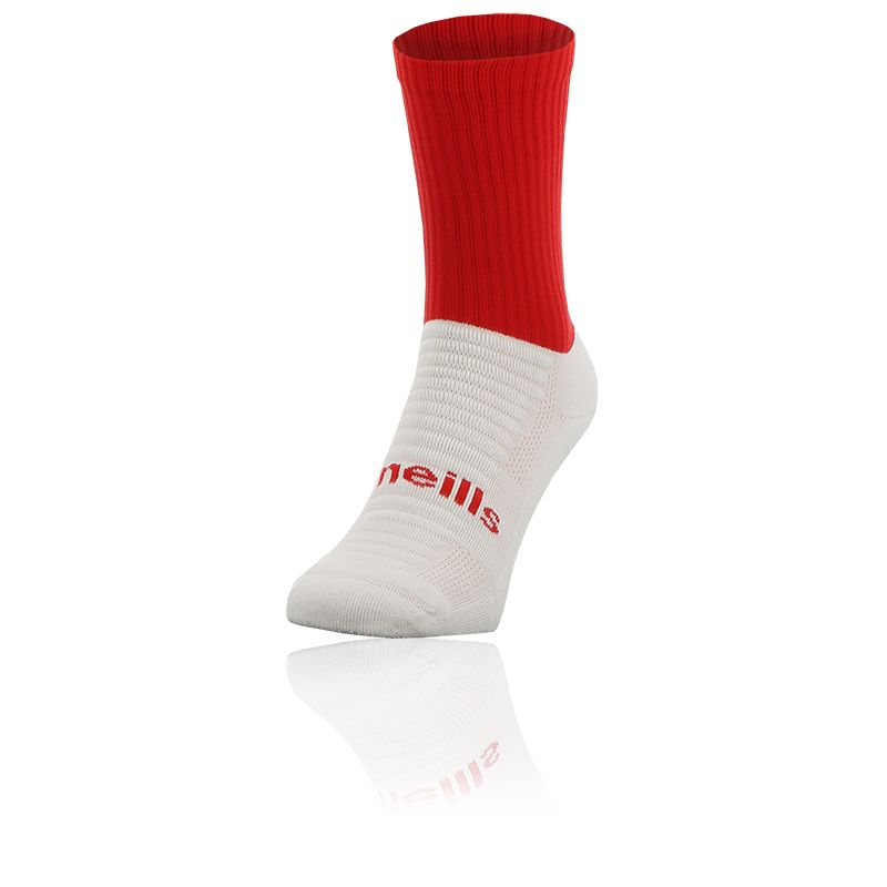 red and white Koolite Max Midi socks infused with COOLMAX ® technology from O'Neills