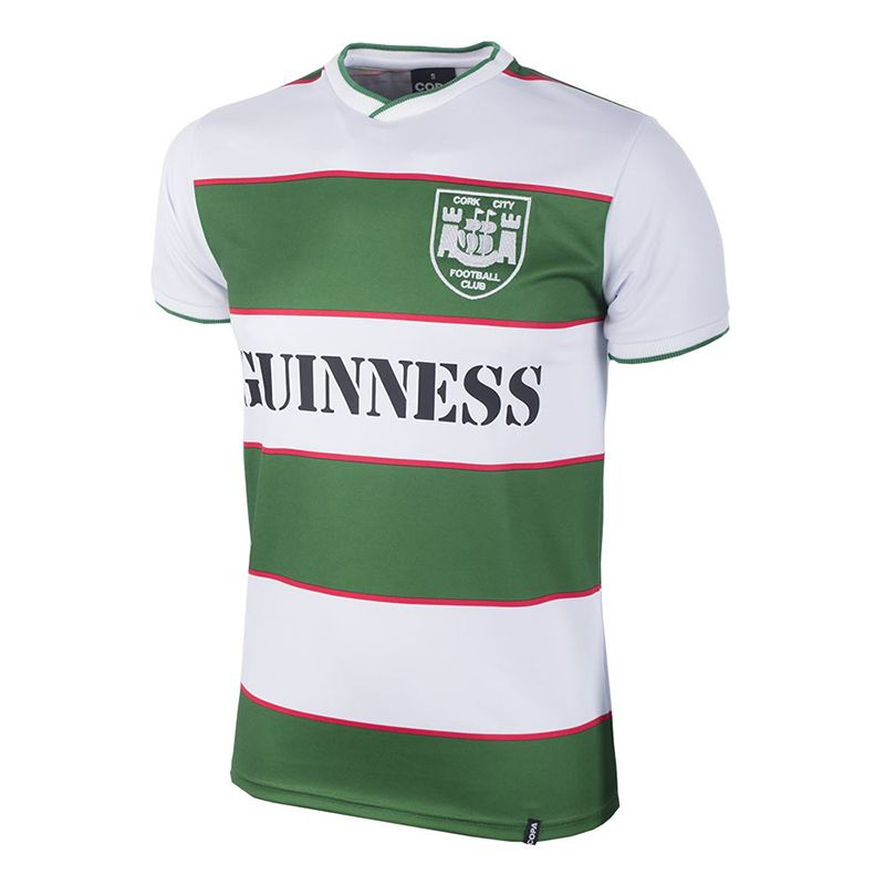 Green and white COPA 1984 Cork City retro jersey with Guinness sponsor from O'Neills.
