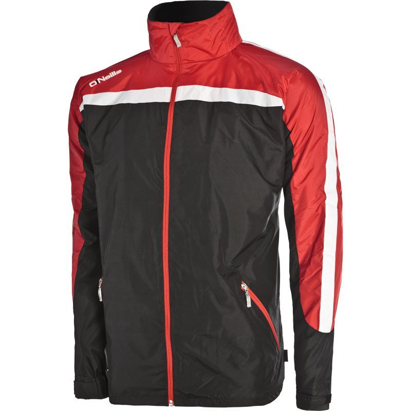 Men's Derby Fleece Lined Full Zip Jacket Black / Red / White