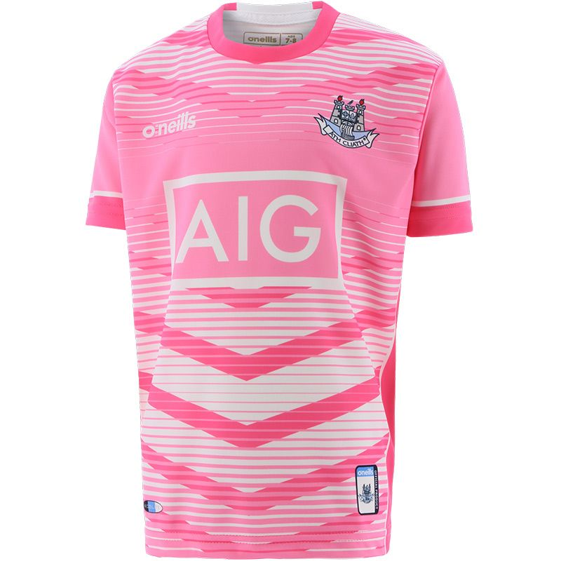 Dublin GAA Kids' Short Sleeve Training Top Pink