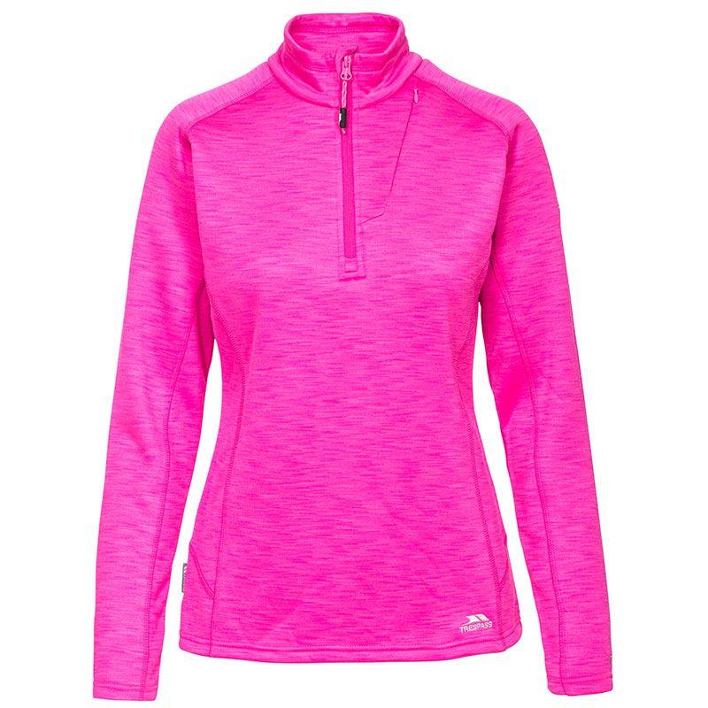 Trespass Women's Fairford Half Zip Fleece Top Pink Glow
