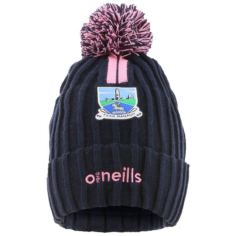 Fermanagh GAA Portland 2 Stripe Bobble Hat Marine / Pink