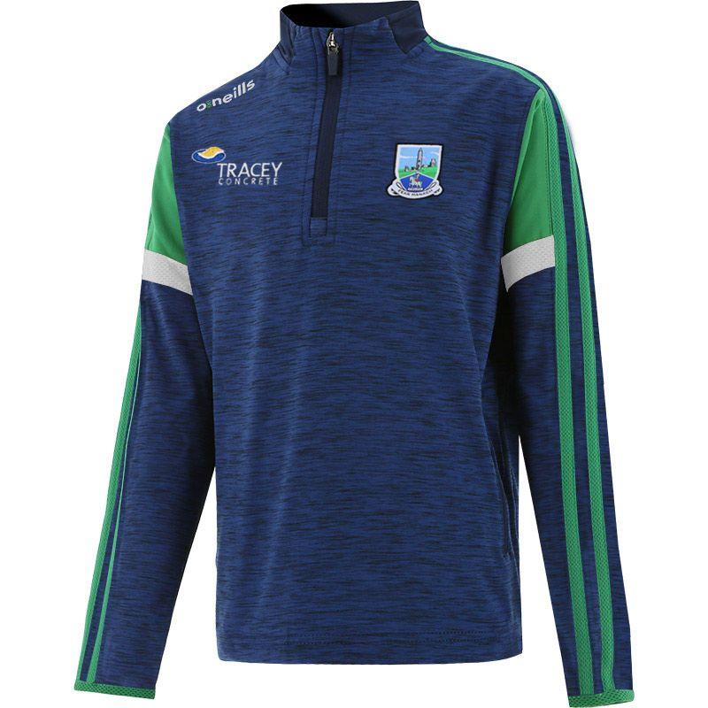 Fermanagh GAA Kids' Portland Brushed Half Zip Top Marine / Green / White