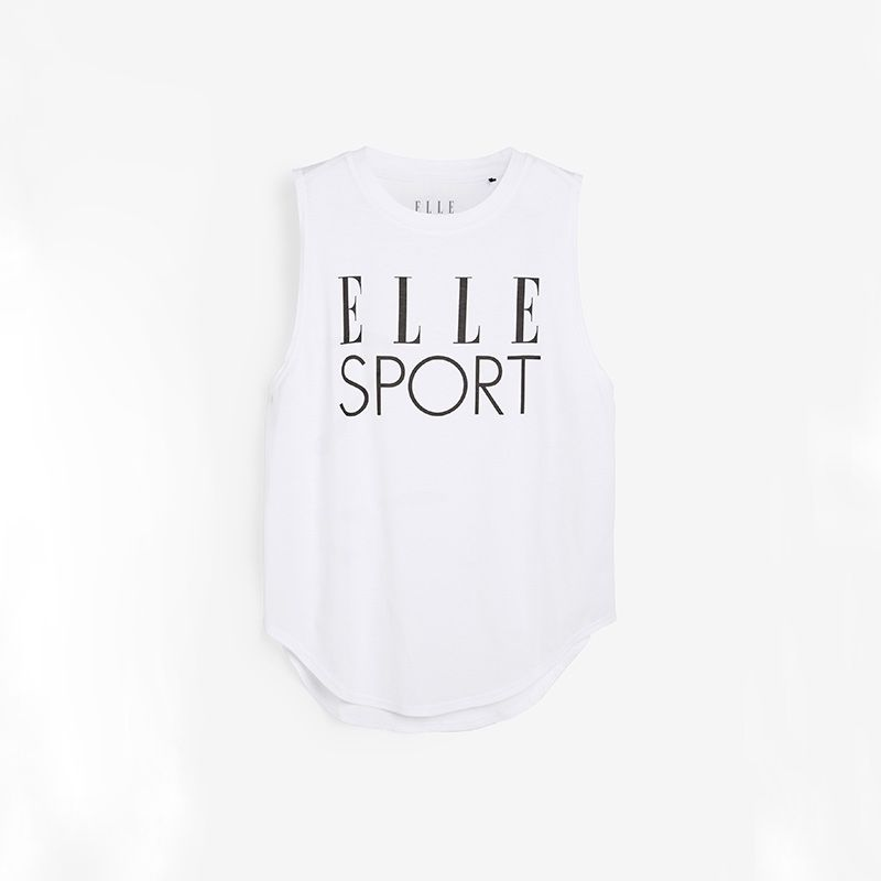 White Elle Sport women's gym cotton vest with dropped armholes from O'Neills.