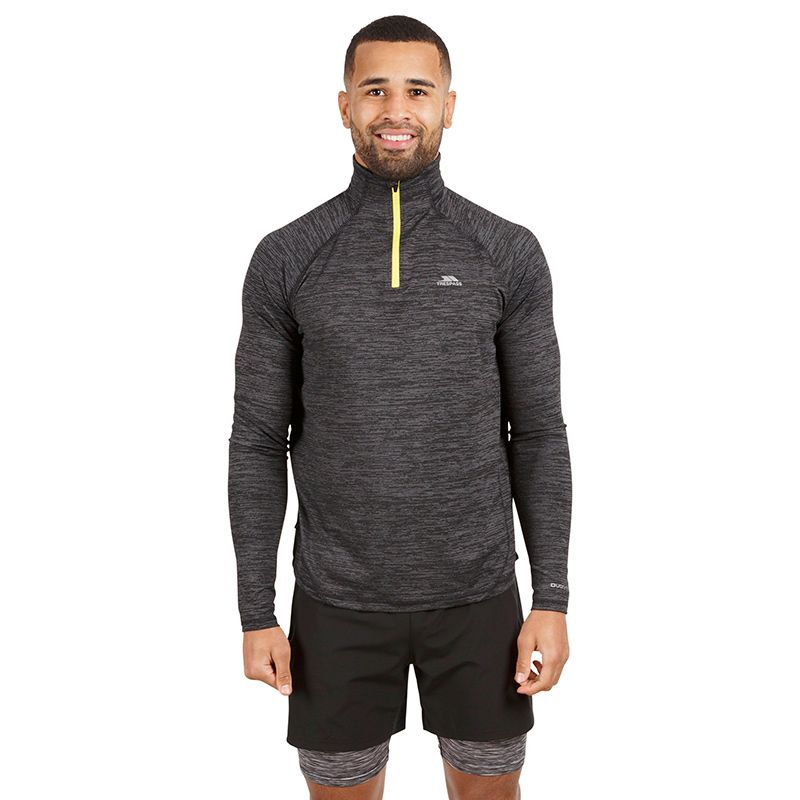 Grey Trespass men's half zip long sleeve top with contrasting yellow zip from O'Neills.
