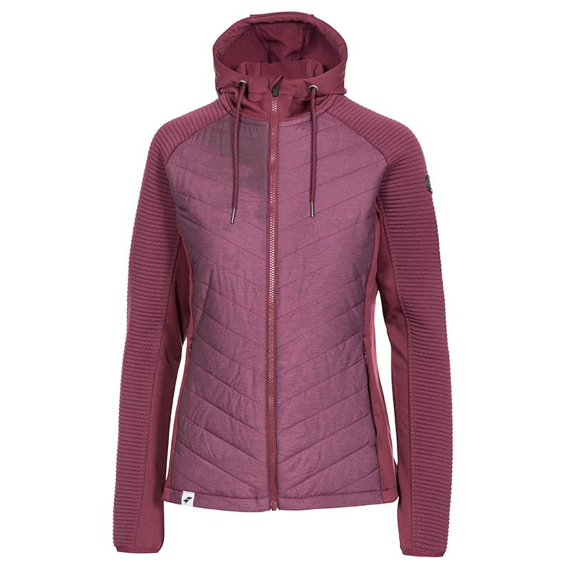 Trespass purple padded coat women's with hood and full zip from O'Neills.