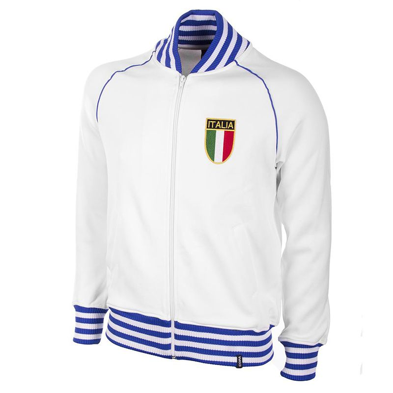 White and Blue COPA retro Italy Football Jacket 1982 with ribbed collar from O'Neills.