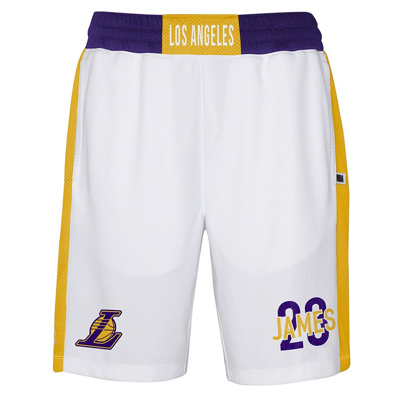 White NBA LA Lakers men's basketball shorts with LeBron James name and number from O'Neills.
