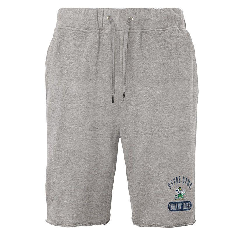 Grey Notre Dame fleece loungewear shorts with team logo from O'Neills.