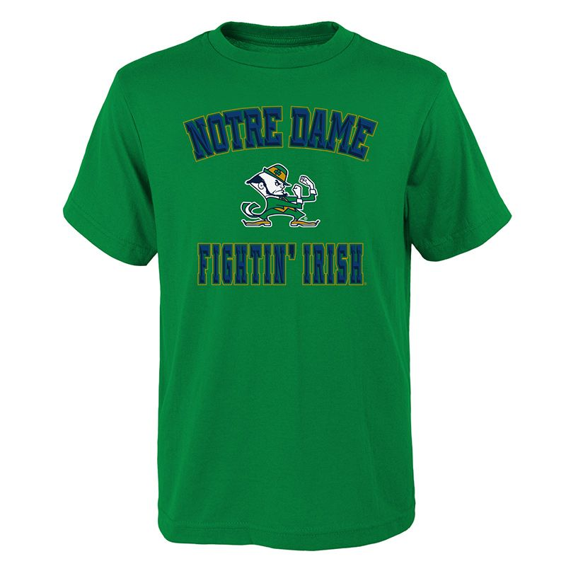 Green Notre Dame Fighting Irish supporters t-shirt with printed logo and name from O'Neills.
