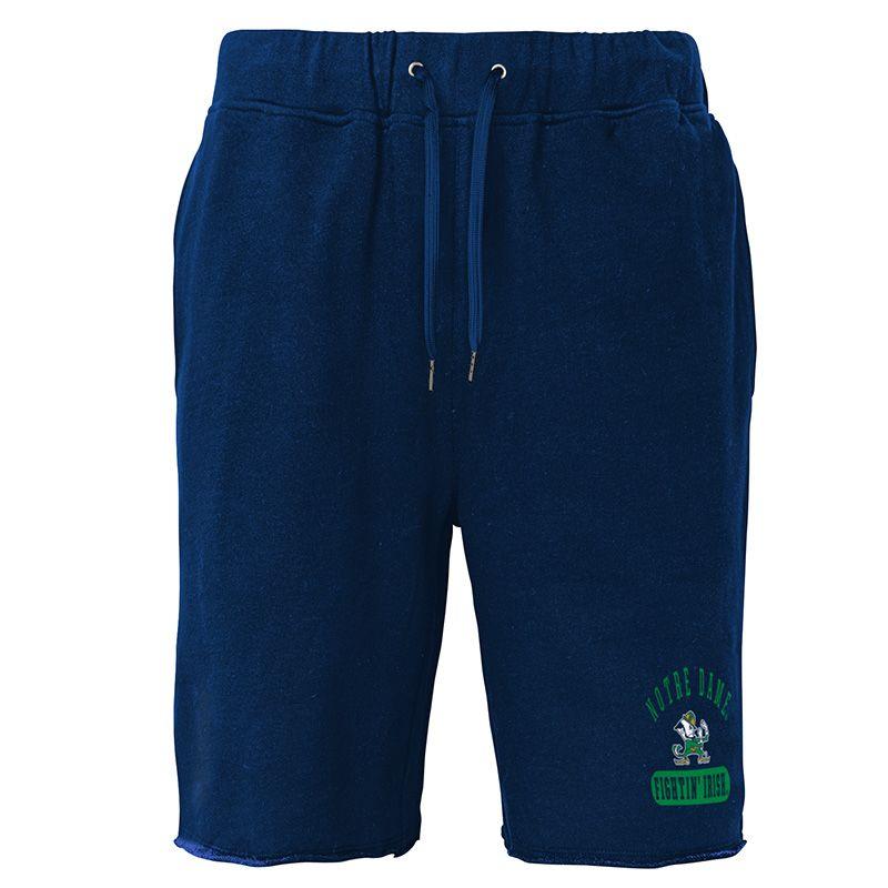Navy Notre Dame fleece loungewear shorts with team logo from O'Neills.