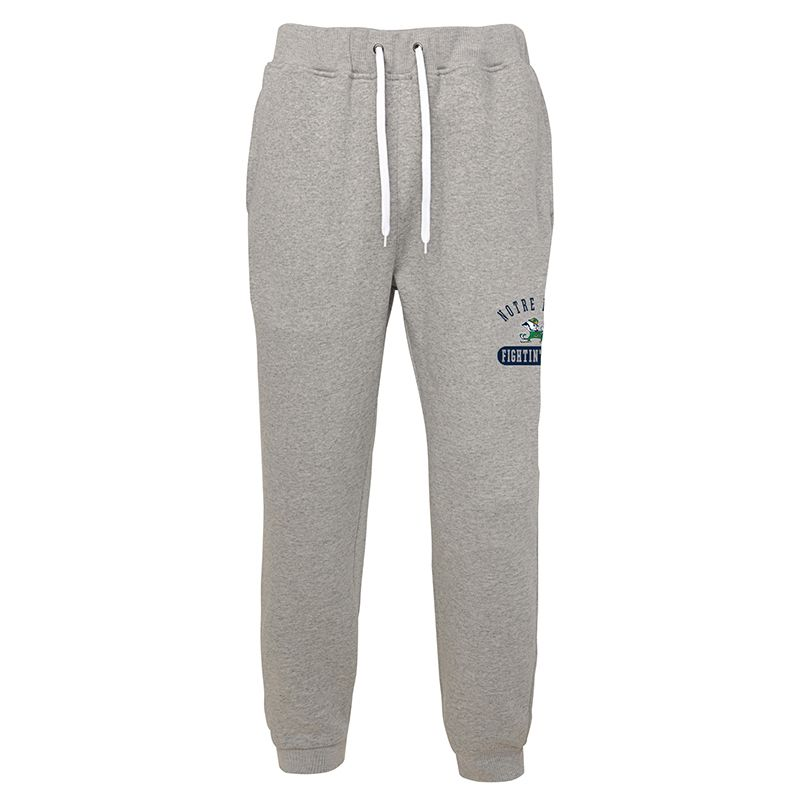 Grey Notre Dame fleece jogger bottoms with team logo from O'Neills.