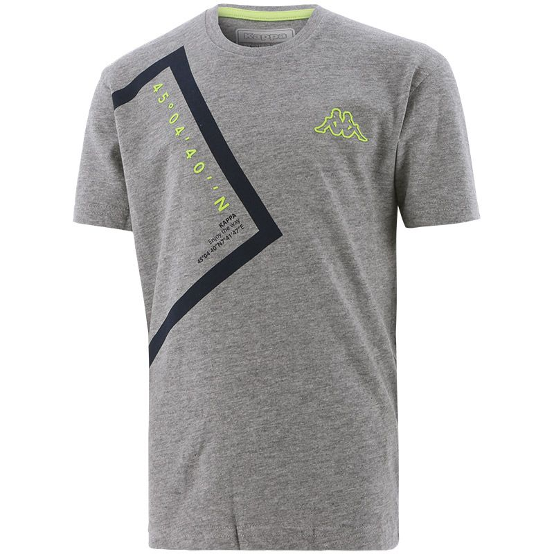grey Kappa Kids' tshirt with a geographical co-ordinate design from O'Neills