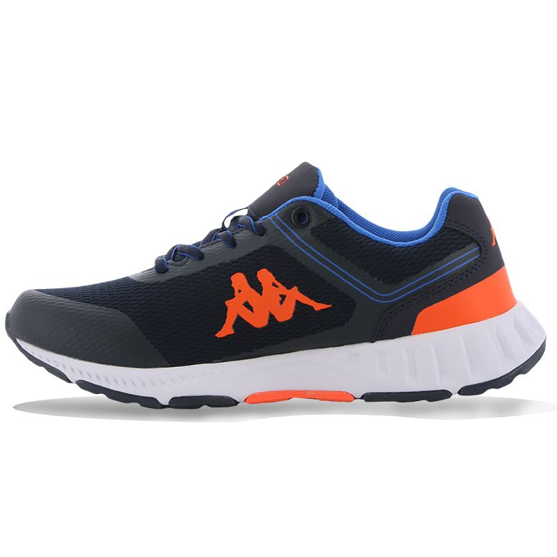 Navy and orange Kappa Kid' trainers with lacer up closure from O'Neills.