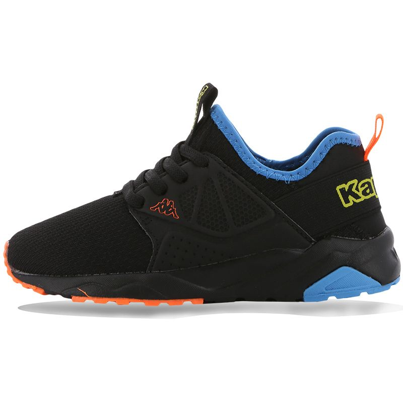 black, blue and orange Kappa Kids' trainers with laces from O'Neills