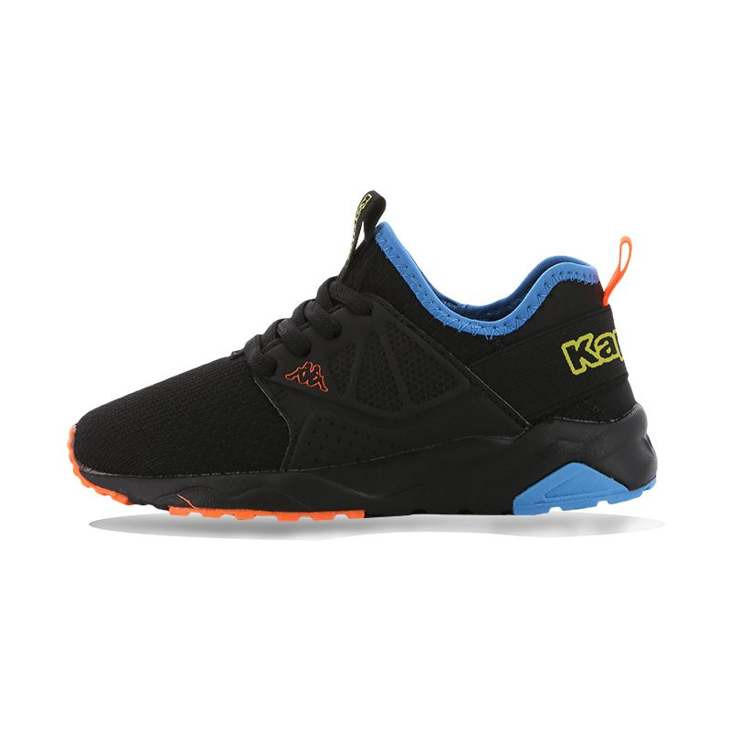 black, blue and orange Kappa Kids' trainers with heel and tongue tabs from O'Neills