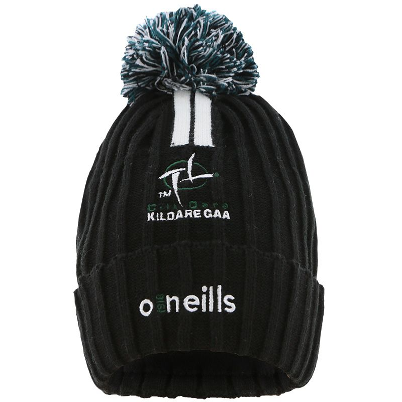 Kildare GAA Portland 2 Stripe Bobble Hat Black / Bottle / White
