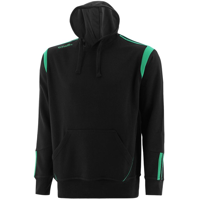 Black and green men's overhead hoodie with front pouch pocket by O'Neills.