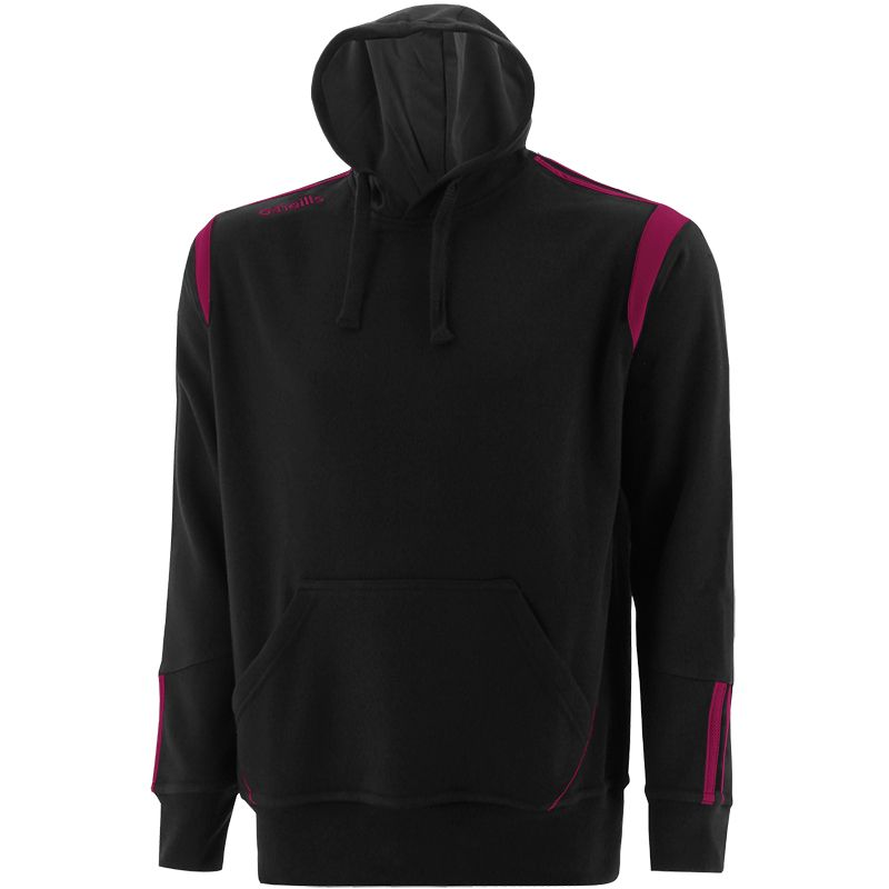 Black and maroon men's overhead hoodie with front pouch pocket by O'Neills.