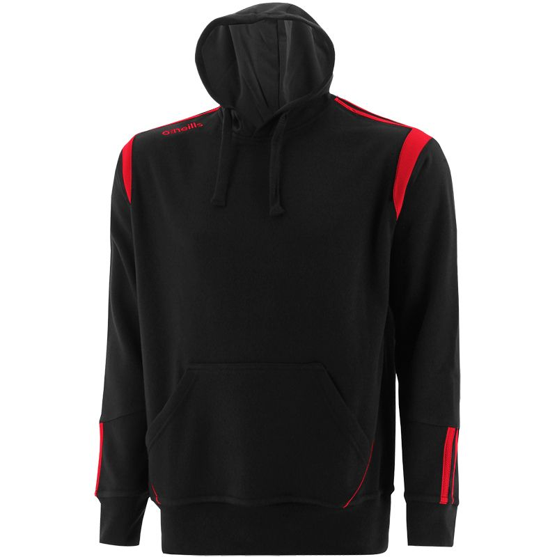 Black and red men's overhead hoodie with front pouch pocket by O'Neills.