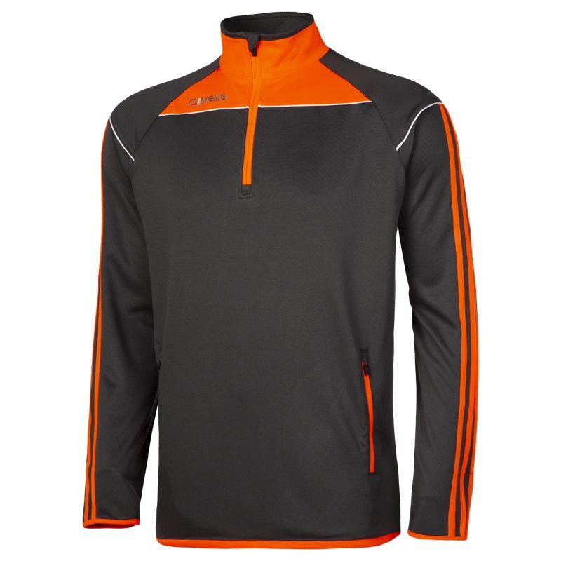 Men's Aston Half Zip Top Dark Grey / Orange