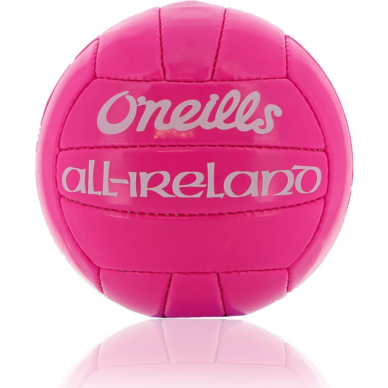 Pink official GAA midi football with O'Neills and All Ireland branding from oneills.com