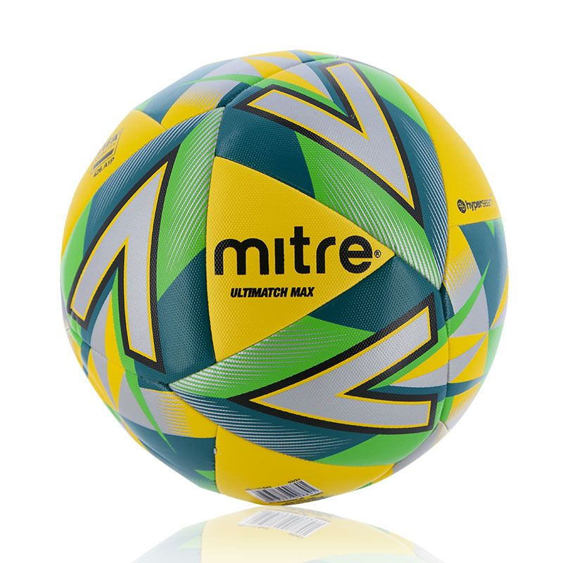 yellow, green, silver and black Mitre size 5 match football from O'Neills
