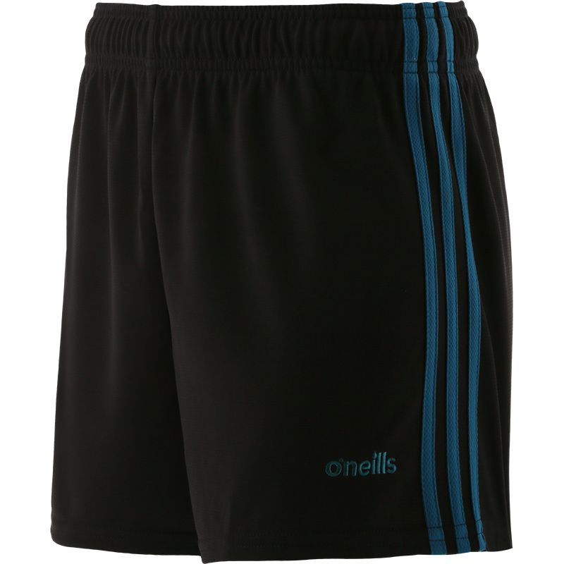 Black and teal women's gym training shorts with three stripe detail by O'Neills.
