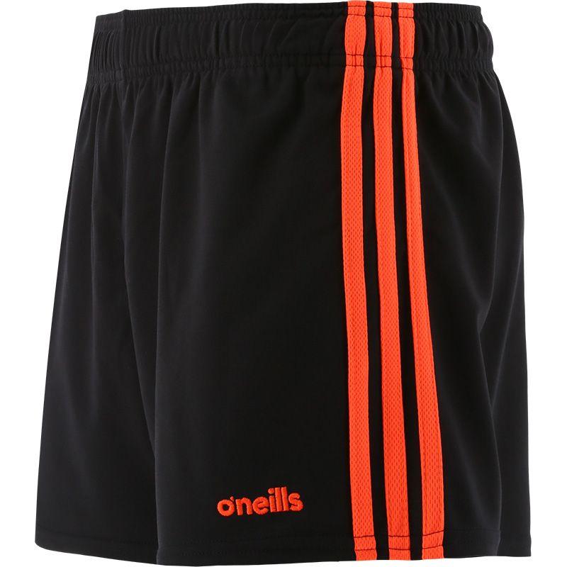 Black and orange women's gaelic training shorts with three stripe detail by O'Neills.