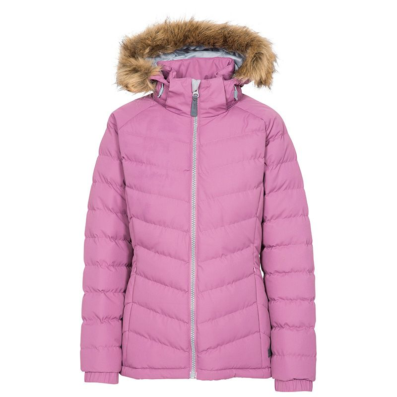 Pink Trespass women's padded jacket with fur hood from O'Neills.