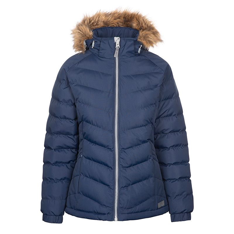 Navy Trespass women's padded jacket with faux fur hood from O'Neills.