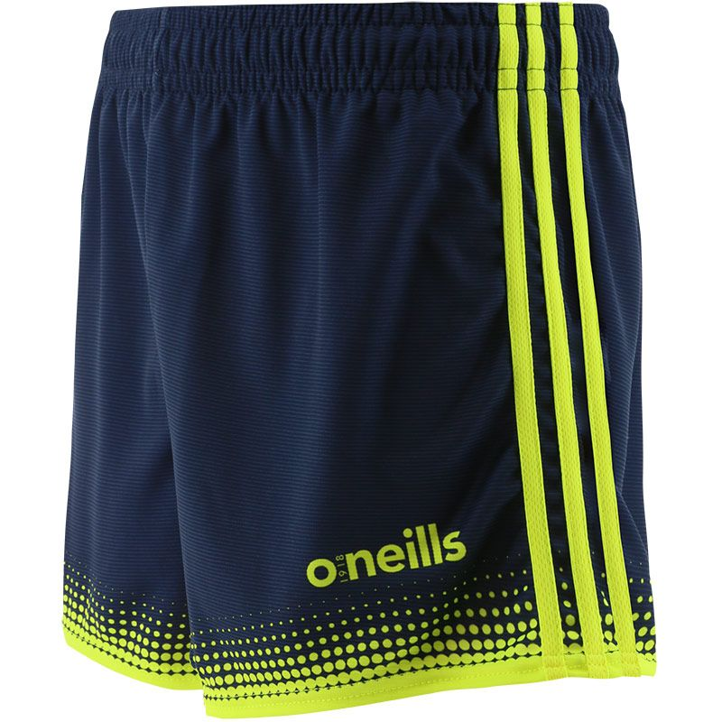 navy Nelson adults shorts with 3 horizontal yellow stripes from O'Neills