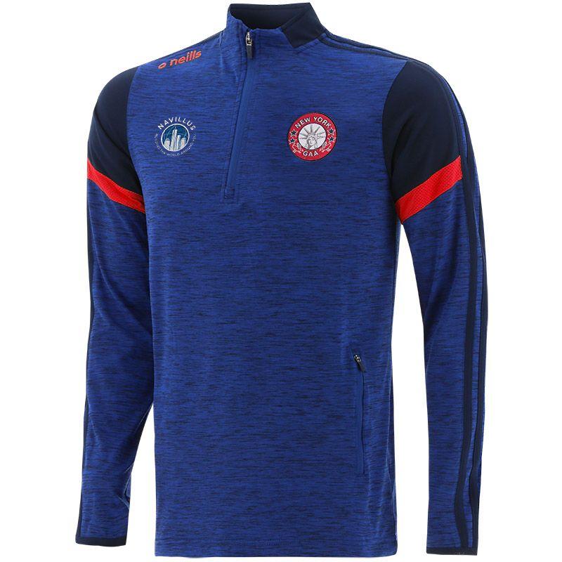 New York GAA Men's Portland Brushed Half Zip Top Blue / Marine / Red