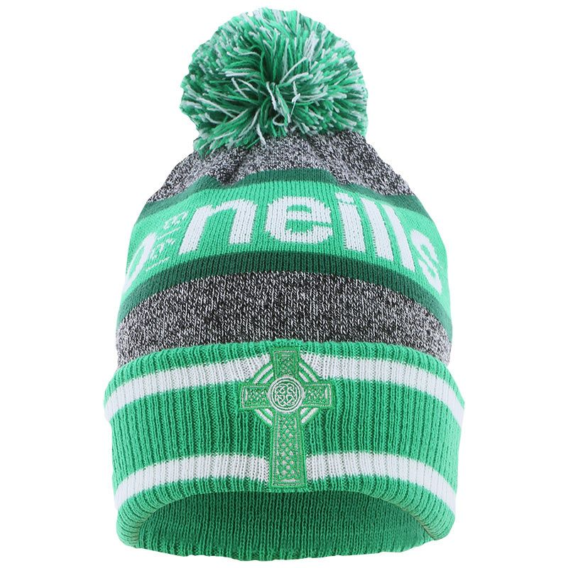 Celtic Cross Knitted Bobble Hat