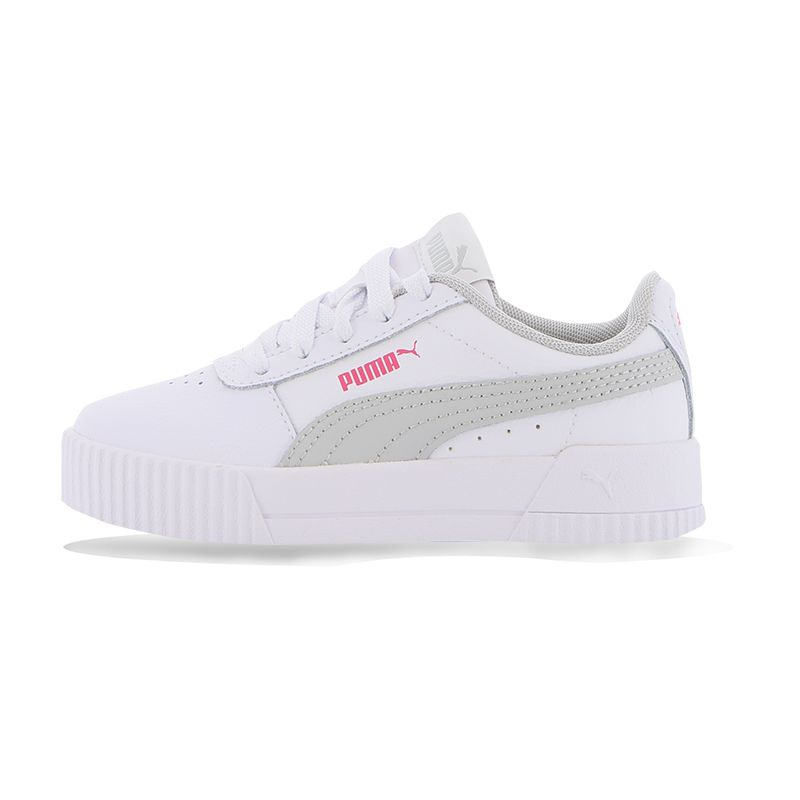 white and grey Puma kids' sports style shoes with a lace closure and non marking rubber from O'Neills