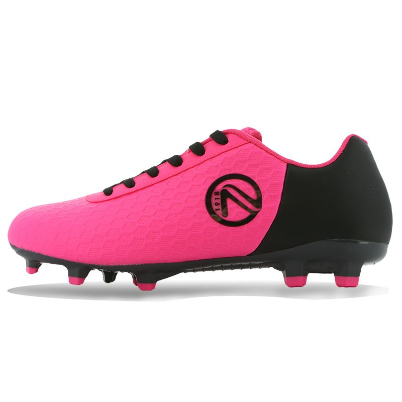 Python Firm Ground Laced Football Boots Junior Flo Pink / Black