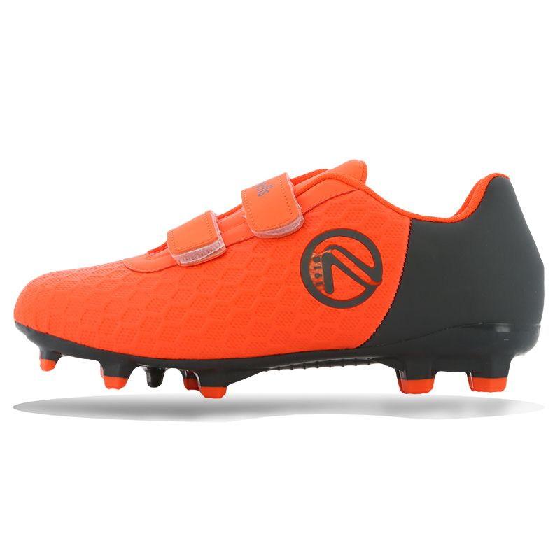 Python Firm Ground Velcro Football Boots Pre-School Flo Orange / Gunmetal
